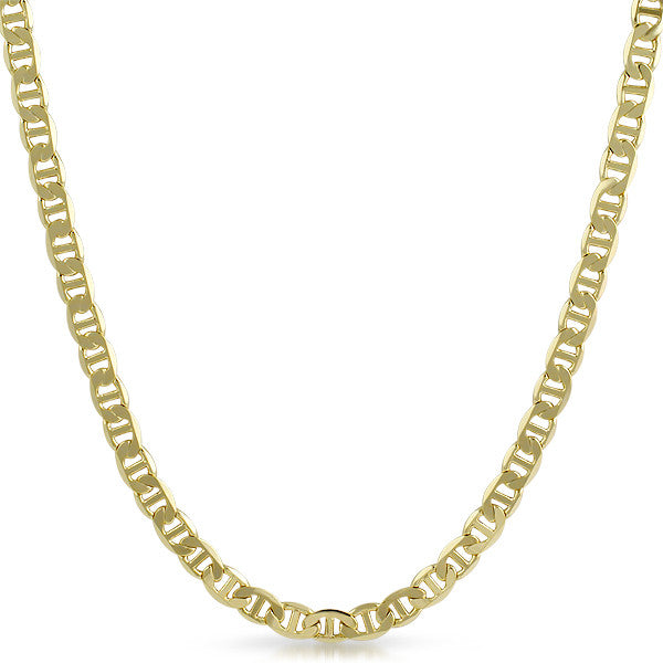 6mm Gold Plated Italian Mariner Mens Necklace