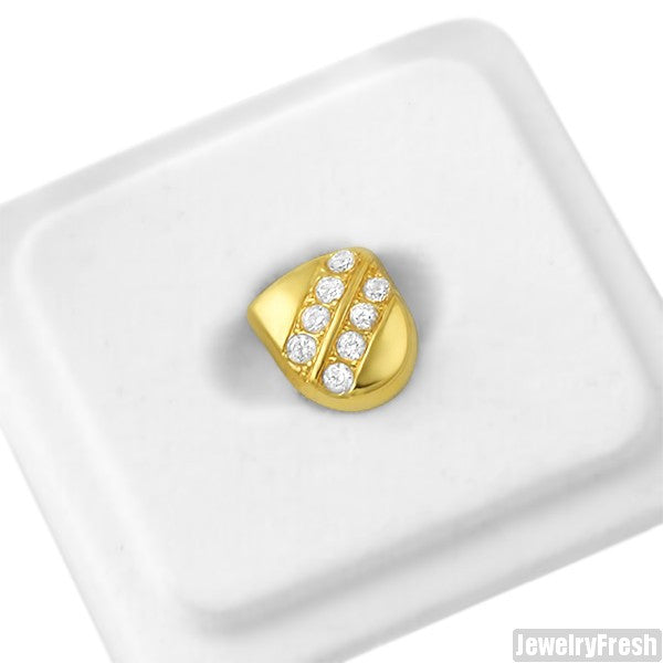 Gold Single Tooth Grill Cap Double Stone