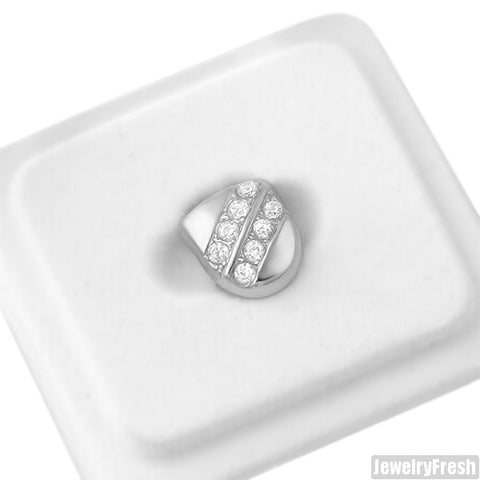 Silver Single Tooth Grill Cap Double Stone