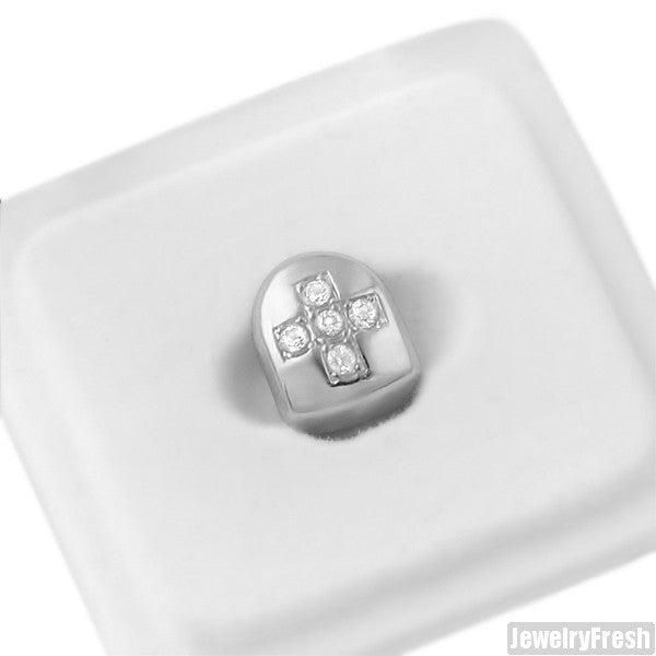 Silver Single Tooth Grill Cap Cross Iced