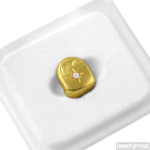 Gold Single Stone Tooth Grill Cap