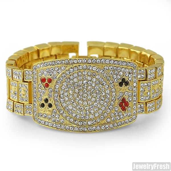 Gold Tone Iced Out Poker Champion Bracelet