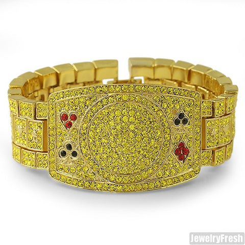 Gold Canary Iced Out Poker Champion Bracelet