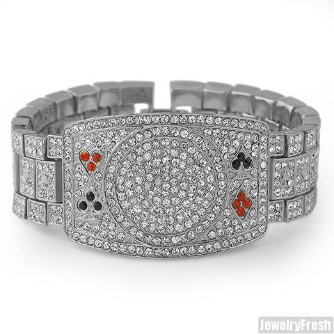 Platinum Tone Iced Out Poker Champion Bracelet