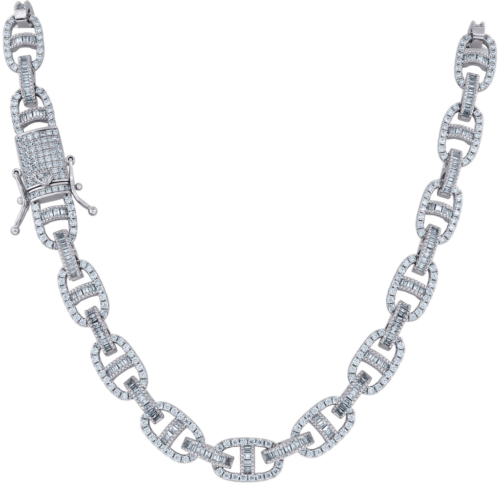 925 Silver Baguette Iced Out Mariner Chain