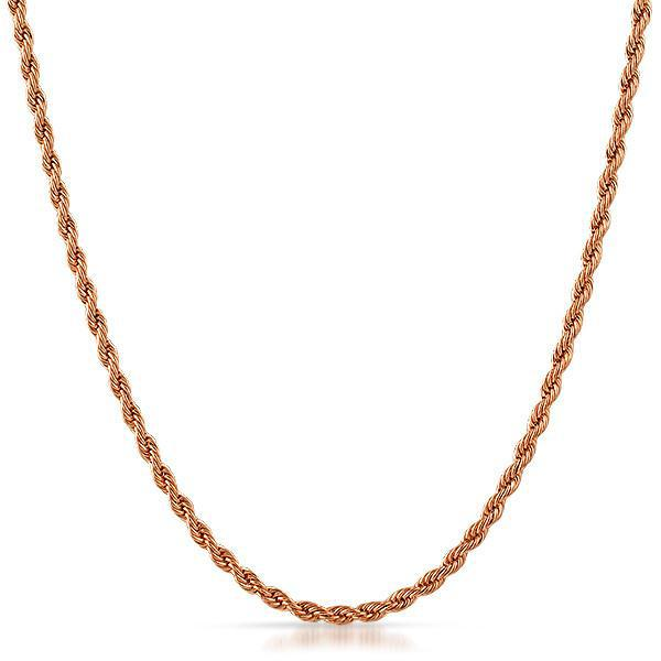 3mm 14K Rose Gold IP Small Rope Chain