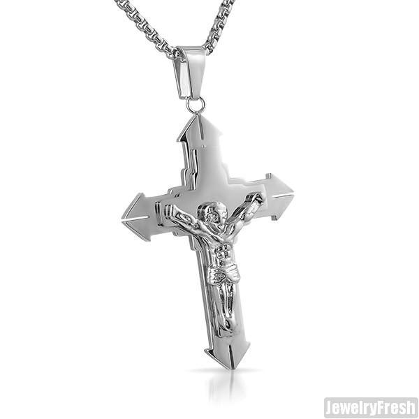 Stainless Steel Mens Crucifix Necklace