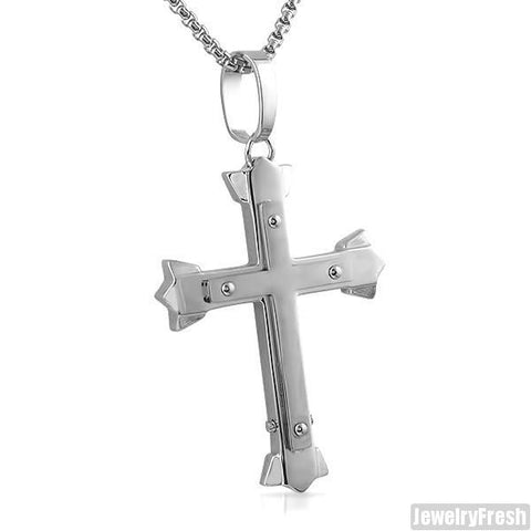 Stainless Steel Trident Cross With Chain