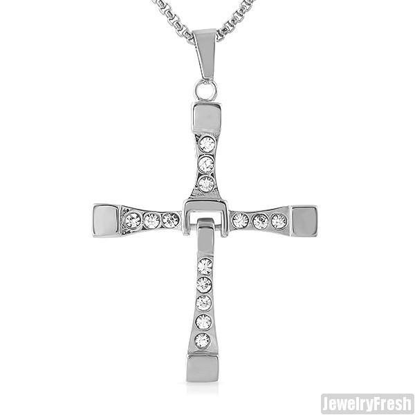 Vin Diesel Style Stainless Steel Dangling Cross