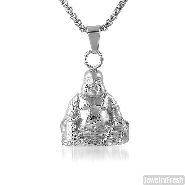 Stainless Steel Sitting Buddha Pendant Set