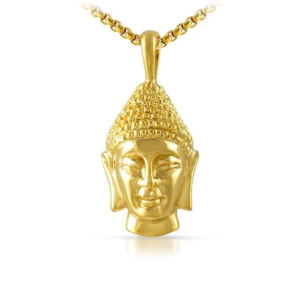 14K Gold IP Solid Buddha Head Pendant