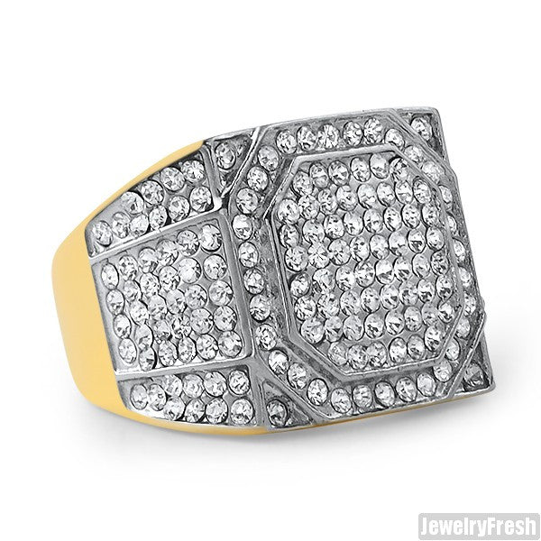 14K Gold IP Czech Crystal Square Ring