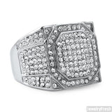 Stainless Steel Square Face Mens Ring