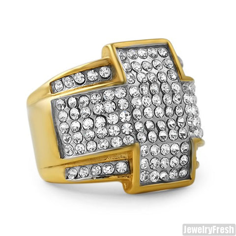 14K Gold IP Czech Crystal Cross Ring