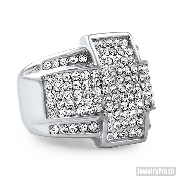 Stainless Steel Cross Iced Out Ring