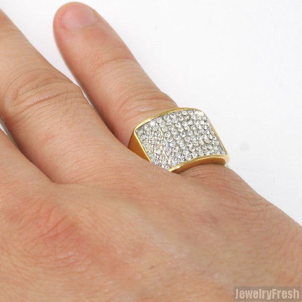 14K Gold IP Simple Iced Mens Ring