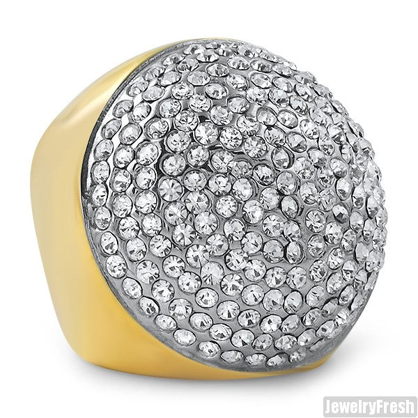 14K Gold IP Jumbo Round Crystal Ring
