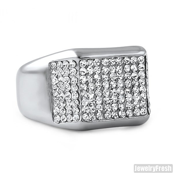 Stainless Steel Czech Crystal Mens Ring