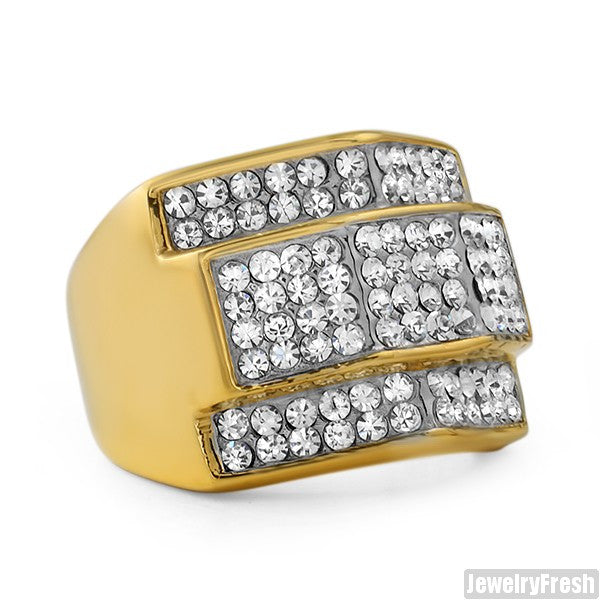 14K Gold IP Czech Crystal Chunky Ring