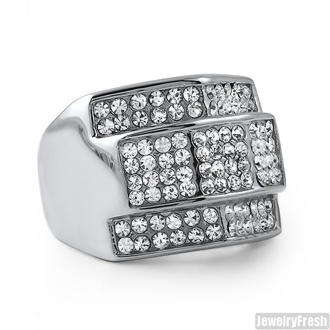 Chunky Iced Mens Ring Stainless Steel