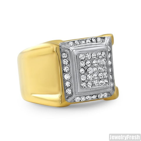 14K Gold IP Czech Crystal Classic Ring
