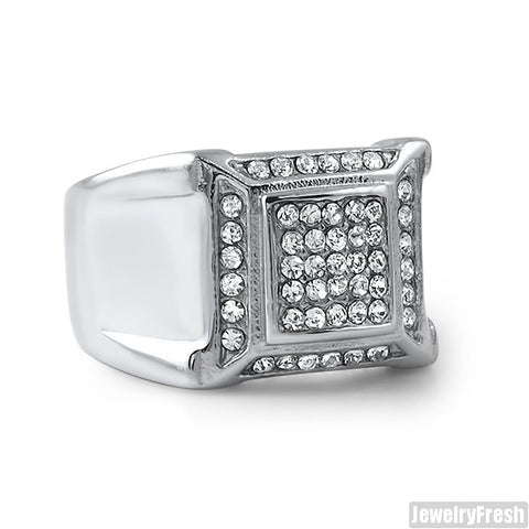 Stainless Steel Faux Diamond Mens Ring