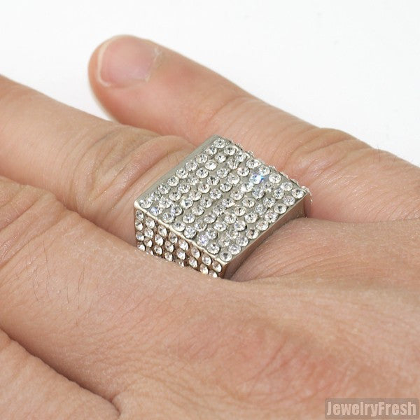 Ice Block Czech Crystal Stainless Steel Ring