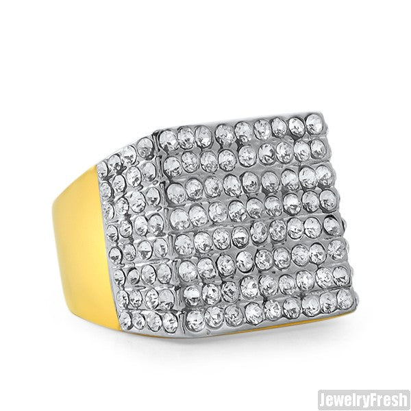 14K Gold IP Czech Crystal Fully Iced Ring
