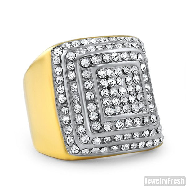 14K Gold IP Jumbo Layered Iced Ring