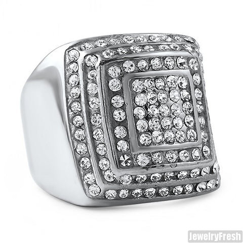Stainless Steel Jumbo Square Bling Ring