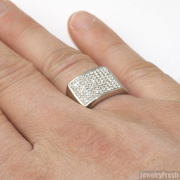 Stainless Steel Classic Faux Diamond Ring