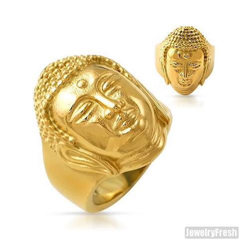 14K Gold IP Mens Buddha Ring