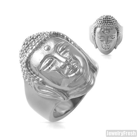 Stainless Steel Mens Buddha Ring