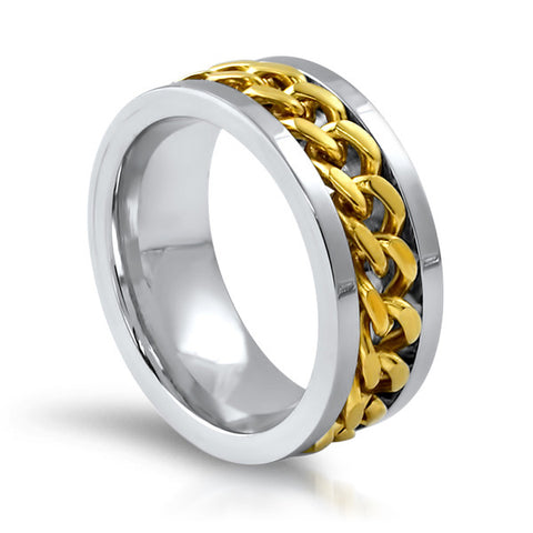 Two Tone Stainless Steel Cuban Link Ring