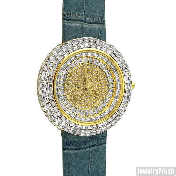 Gold Baguette Ice Orbit Watch Blue Leather