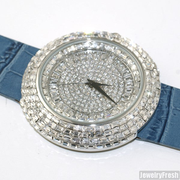 Silver Baguette Ice Orbit Watch Blue Leather