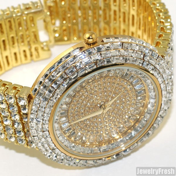 Fully Flooded Gold Ice Orbit Baguette Watch