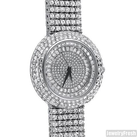 Fully Flooded Silver Ice Orbit Baguette Watch