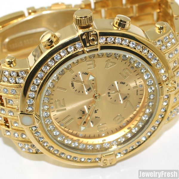Gold Iced Out Custom Pilot Watch