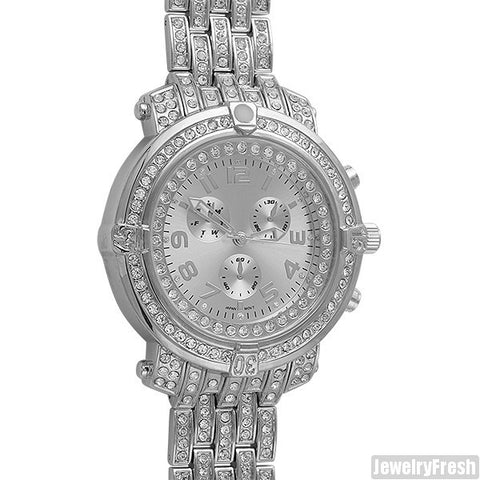 Platinum Iced Out Custom Pilot Watch