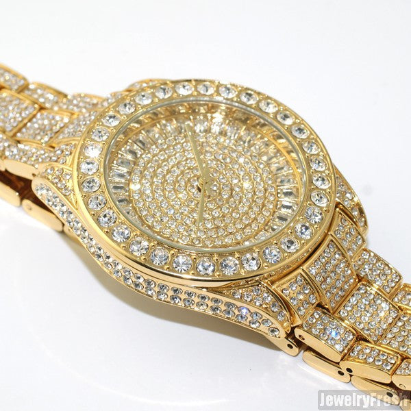 41MM Big Face Iced Out Watch Gold