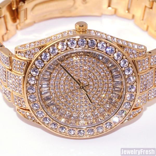 41MM Big Face Iced Out Watch Rose Gold