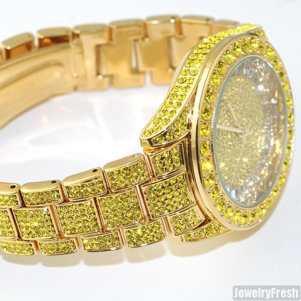 41MM Big Face Iced Out Watch Canary