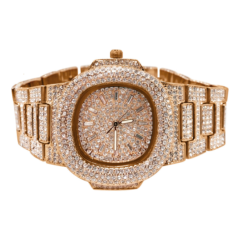 Rose Gold Iced Out Czech Crystal Nautical Watch