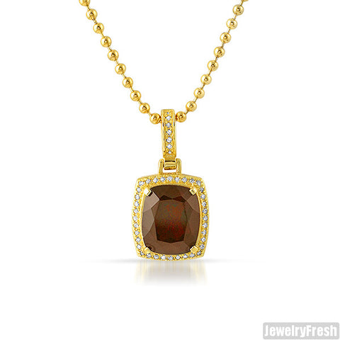 Red Garnet Diamond Halo Royalty Pendant