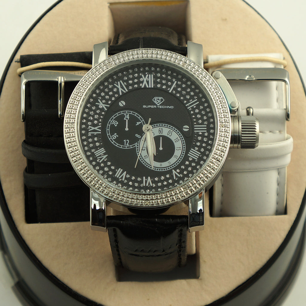 Mens Russian Diver Genuine Diamond Watch