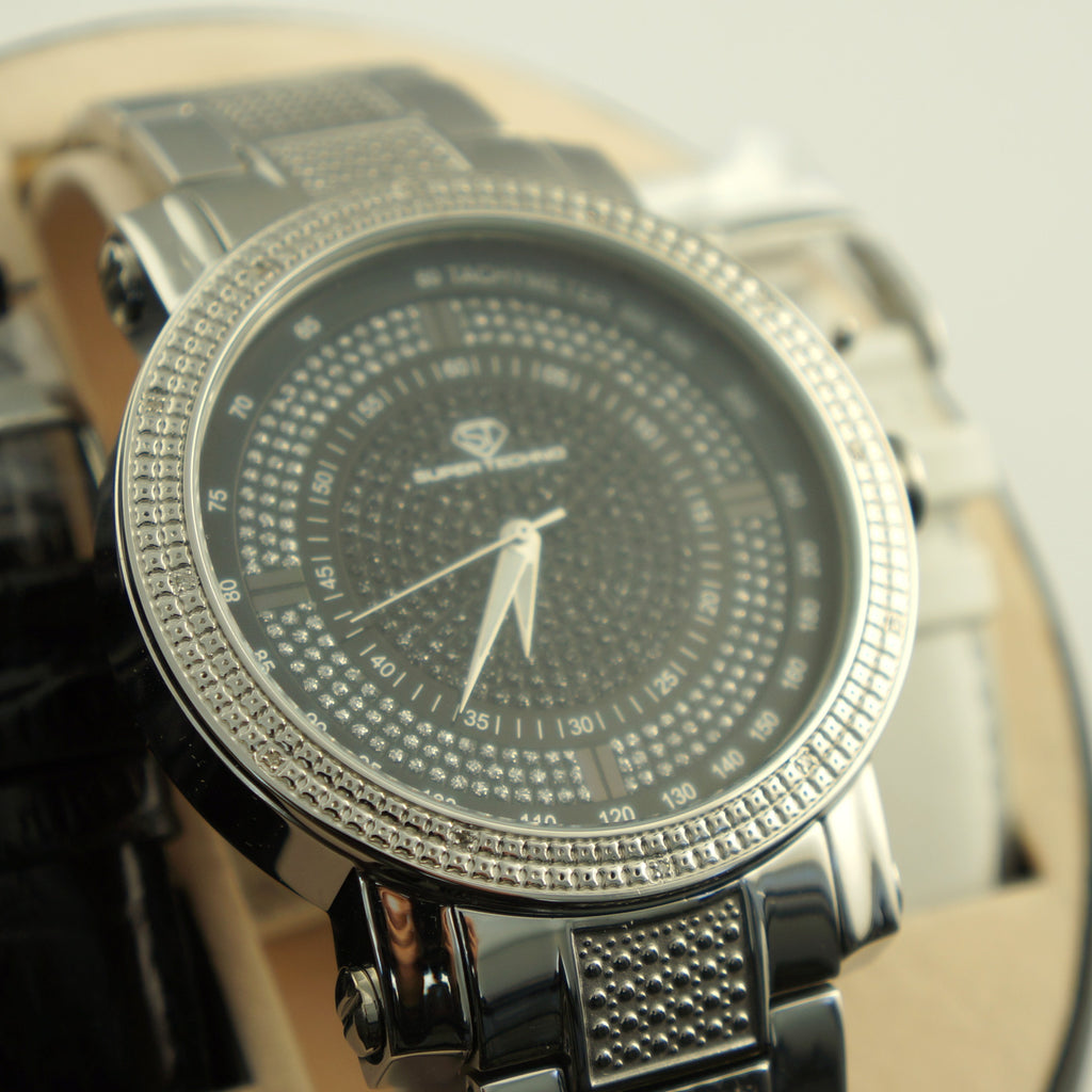 Black Dial Genuine Diamond Metal Band Watch