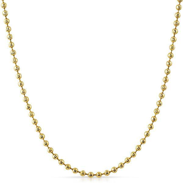 2.5mm 36 inch Moon Cut Gold Bead Chain