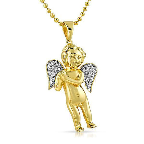 Gold Genuine Diamond Cherub Angel Pendant