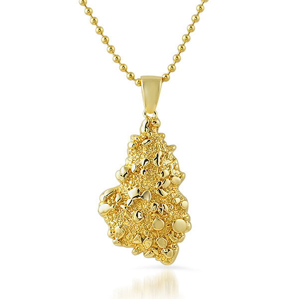 18K Gold Finish Vintage Nugget Pendant
